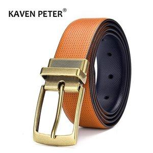 Herren Leder Reversible Gürtel Klassische Modedesigns Großhändler Business-Kleid Punkt Gürtel mit gedrehter Schnalle Dropship 201208