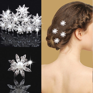 24Pcs Floral Crystal Bride Hair Pins Zinc Alloy Silver Plated Bridal Party Wedding Crystal Pearl Hair Jewelry Hair Accessories Free Shipping