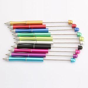 USA Vendedor quente workshop artesanal colorido Adicionar uma grânulo Beadable canetas Promocionais DIY Twist Ball Pen Resistente Metal Full Beadable DIY Pens LX3795