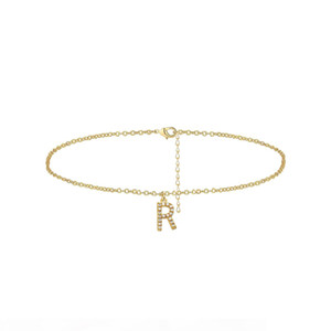 Tiny Dainty Crystal Inlay Initial Letter Charm Anklets for Girls Fashion Jewelry Mother Gift 26 A-Z Letters Charm Women Anklet