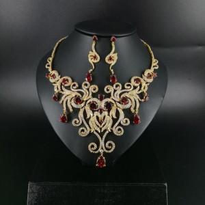 2021 NEW fashion luxury noble retro RED water drop zircon necklace earring set,wedding bride dress jewelry set free shipping!
