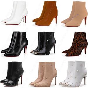 جديد مثير إمرأة عالية الكعب 100 ملليمتر الأحذية الجلد المدبوغ التمهيد الأحمر أسفل الكاحل الشتاء جلد حقيقي مضخات باريس الأحذية حجم 35-41 مع مربع