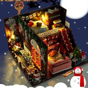 DIY кукольный Рождество Миниатюрный Kit Реалистичная Мини 3D Деревянный дом номер Craft головоломка Мебель LED Lights Music Детская PUZ