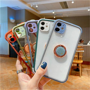 Matte Transparent anti shock Soft clear Case with keyring phone stand for iPhone 12 7 8 plus XS X 11 PRO MAX in OPP Bag