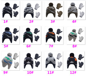 Baby Boy Knit Warm Fleece Pilot Hat Infant Toddler Winter Hat Mitten Set Gloves For Boy Girl Christmas Party Decoration HH9-3457