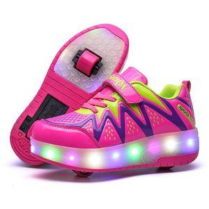 Атлетик открытый два колеса светящиеся кроссовки 2021 светодиодный светильник кататься на коньках для детей детей мальчики девушки UP Unisex