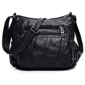 Fashion Women Crossbody Bag Black Soft Washed Leather Shoulder Bag Patchwork Messenger Small Flap For Girls Black Stri