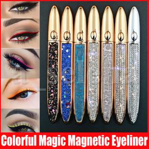 8 colori Diamante Magico Trucco occhi magnetico Liquid Eyeliner lungo impermeabile duratura Raffreddare Colorful Eyeliner per Magnetic Ciglia finte