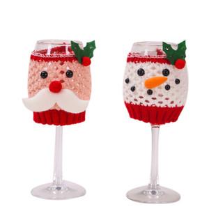 verre de vin de Noël mis en Père Noël bonhomme de neige Décorations de Noël pour la maison Coupe de Noël Couverture Décor Bonne année GGB2364