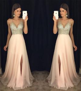 Pretty Deep V Neckline Rhinestone Nude Bodice Split Skirt Floor Length Blush Pink Pageant Gowns Women Prom Evening Dresses