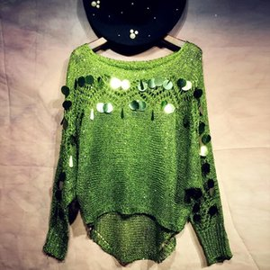Woman hook Hollow out Sequins Sweater thin loose Holes Pullover bat Sleeved Beading Shirt sequined blouse Oversize Smock 2018