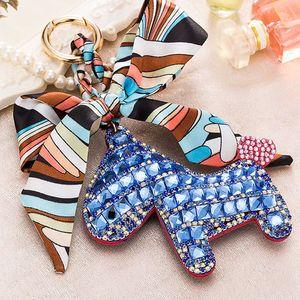 Fashion Cute Women's Bag & Car Pendant High-end Handmade Scarf Leather Handbag Key Chains Tassel Rodeo Crystal Horse Bag Charm ps0853