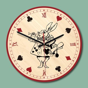 """12"""" Alice im Wunderland Herald White Rabbit Wanduhr Holz Königin der Herzen Startseite Room Decor kreative Taktgeber-Geschenk"""