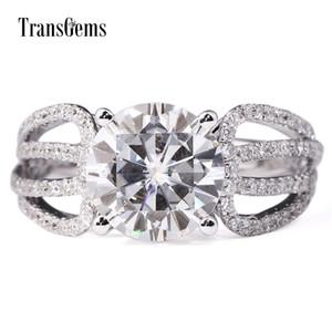 TransGems 3 Carat Lab Grown Moissanite Diamond Engagement Ring Lab Diamond Accents Solid 14K White Gold Women Wedding Band Y200620