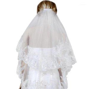 Шарфы два слоя белая свадебная вуаль свадебные короткие тюль завесы аксессуары1