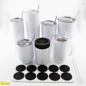 20Oz 30Oz 12Oz Skinny Tumblers Sublimation DIY Muster Wasserbecher 18/8 Edelstahl-Vakuumkolben mit Deckel und Strohm
