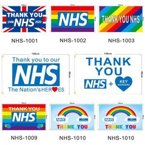 شكرا لك NHS Flag UK The Kingdom المملكة المتحدة Rainbow 2020 رسالة مطبوعة 90 * 150 سنتيمتر البوليستر الرئيسية راية الأعلام Ljjo7928