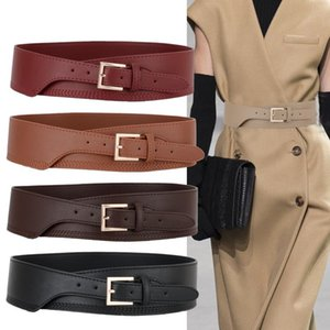 New Black PU Leather Cummerbunds Female coat Belt Woman Punk Wide gold pin buckle Waistbands Dress fashion Lady For party gifts