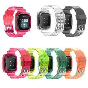 Soft TPU Clear Crystal Brap Band + Bumper Case для Apple Watch 5 6 38 мм 40 мм 42 мм 44 мм Xiaomi Fitbit Sense / Versa 3