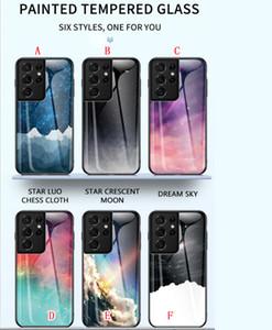 Bling Закаленные стекла Жесткий чехол для Samsung Galaxy S21 Ultra S21 Plus S20 Fe A31 A21S A71 5G A72 A52 A12 Dream Star Starry Sky Cover Luxury