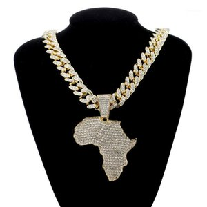 Fashion Crystal Africa Map Pendant Necklace For Women Men's Hip Hop Accessories Jewelry Necklace Choker Cuban Link Chain Gift1