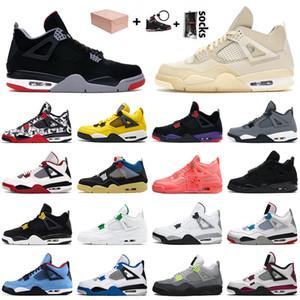 ولدت 4 فون nike air jordan retro off white 4 4s أحذية كرة السلة جديد وصول الإبحار Jumpman هوت لكمة القطة السوداء للأسمنت الأبيض الاتحاد نوير النساء معطلة المدربين أحذية رياضية