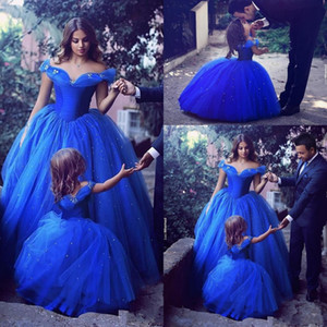 Cute Princess Ball Gown Flower Girl Dresses Off-the-shoulder Floor Length Ball Gown Blue Kids Birthday Party First Communion Custom Made