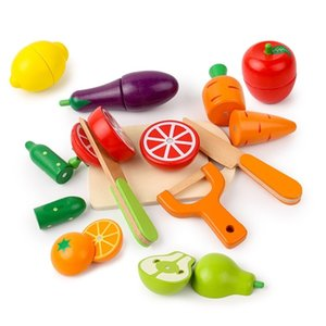 Simulation Kitchen Pretend Toy Cutting Fruit Vegetable Set Wooden Classic Game Montessori Educational Toy For Children Kids Gift LJ201211