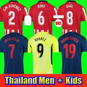 20 21 Madrid Soccer Jersey 2020 2021 João Félix M. Llorente Koke Saul Godin Diego Costa Camiseta Camicia da calcio Uniformi Uomo + Kid Kit Kit