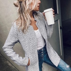 Long Sleeve Casual Coat Women Long Sleeve Gray Elegant Slim Sport Coat Smart Casual Jacket 201013