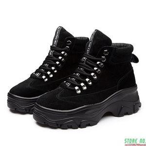 Plus Size Genuine Leather Women's Boots Winter Plush Warm Ankle Boots For Women 2021 Fashion Platform Woman Shoes