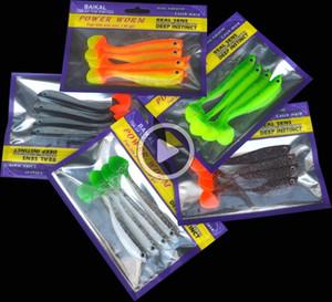 6JSP Горячей Продажа Soft Lure Bait 4 Пирогов / мешок Рыбалка искусственных приманок ручной 11см / 6g Dl Цвет T Tail загрузка