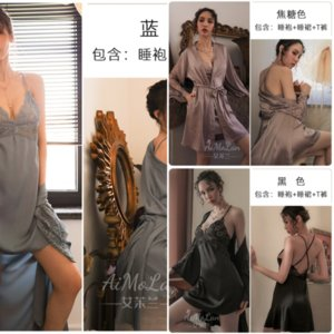 QC8 Seksi Mus Severler Ipek Çiçek Robe Pijama Bornoz Buz Ipek Fit Uzun Elbise Çocuğun Kadın Bornoz Pijama Dantel Kravat Oymak