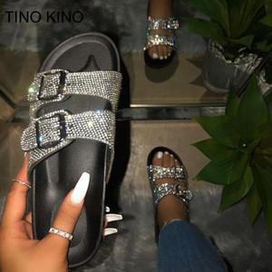 Tino Kino Mulheres Cristal Buckle Chinelos Mulheres Sapatos Verão Glitter Casual Chinelos Feminino Feminino Sapatos Senhoras Calçado Y200706