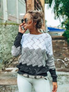 Contraste solta Womens Cor Camisolas Patchwork O-Neck Outono Inverno Mulher Designer Casual Hot Sell Tops 4 cores opcionais