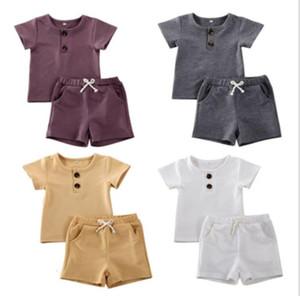 Baby Designs Clothing Sets Infant O-Nack Shirts Solid Shorts 2pcs Sets Fashion Casual Vest Long Pants Baby Designer Kids Outfits LSK1794