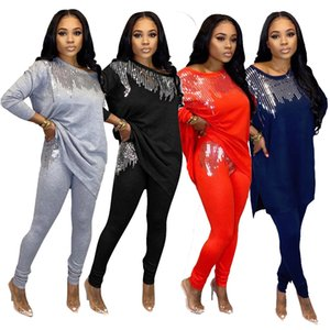 Two Piece Set Women Clothes Africa Clothing African Dresses for Women Dashiki Sequins Top and Pants Jogging Femme Matching Sets Y1229