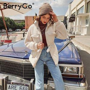 BerryGo Causal solid white autumn winter women parkas Warm stand collar long sleeve female jacket High street Down Jackets 2020