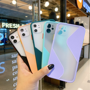 S-Shaped Curved Cell Phone Case Contrast Color Skin Feeling Case For iPhone 12 11 Pro Max X XR XS Max 7 8G 8plus
