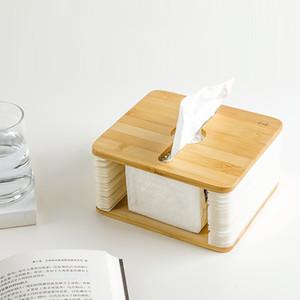 Placa de bambu órgão criativa caixa de tecido WC Casa de Banho Car Quarto Baby Wipes guardanapo Titular Natural Wood Toalha Box Dispenser