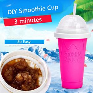 Coupe de smoothie de bricolage facile avec paille Magic Pinch Smoothie Maker Camp de voyage Portable Silicone Smoothie Smoothie Coupe de sable Crème glacée Straper Maker OWD2651