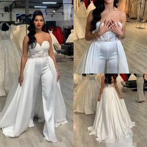 Modest Jumpsuit Wedding Dresses with Overskirt Satin Sweetheart Neckline Lace Applique Satin Custom Made Wedding Gown Vestido de novia