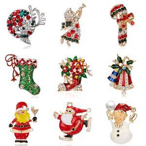 Enamel Christmas Tree Socks Snowman Santa Claus Angel Brooch Christmas Jingle Bells Boots Brooches Charm Crystal Xmas Gifts