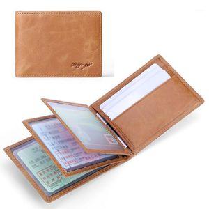 Vintage Passport Trave Business Women Men Covers Holder Wallet Genuine Card Bank Purse Multi-Function Leather ID Short Case1 Oejgu