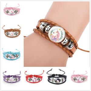 Beautiful Unicorn Pattern Woven Bracelet Glass Charm Decor Jewelry Party Home Kids Pretty Gifts Free Shipping