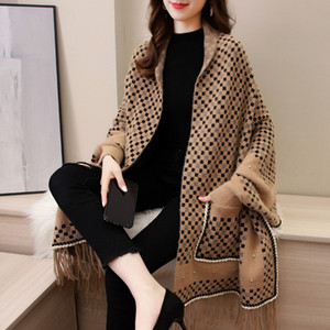 Autumn Winter Shawl Scarf Tassels Sleeves Poncho Cape Mink Cashmere Thick Cloak-style Red cheongsam Wedding Outer Jacket Women