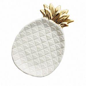 Piña cerámica almacenaje de la joyería bandeja de piña Pallet fruta seca Placa decoración del hogar Plate mPyi #