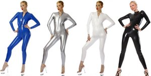 Unisexe Sexy 7 Couleur Brillant PVC Costume Catsuit Costumes PVC Sexy Zip avant Costume Body Costumes Halloween Party Costume Cosplay Costumes DH229