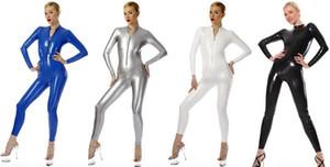 Unisex Sexy 7 Farbe Shiny PVC Anzug Catsuit Sexy Frontzipp PVC-Körper-Klage-Kostüm-Halloween-Party-Abendkleid Cosplay Kostüme DH229