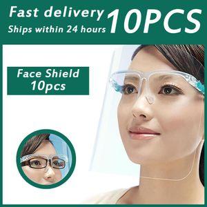 10pcs Lot Glasses Face Shield Cover Oil Spitting Protective Isolation Mask Pet Tranparent Dustproof Facial Protection Visor sqczhj homecart